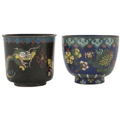 Pair of Vintage Cloisonné Japanese and Chinese Enamel Cups, Early 20th Century