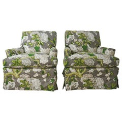 Pair of Vintage Club Chairs Upholstered in Schumacher Fabric