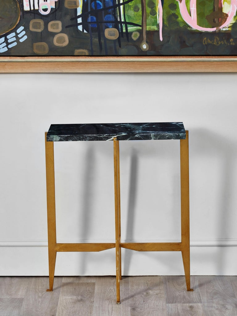Mid-Century Modern Pair of Vintage Consoles in Brass, 1980s For Sale