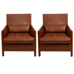 Pair of Vintage Contemporary Full Grain Leather Lounge Chairs