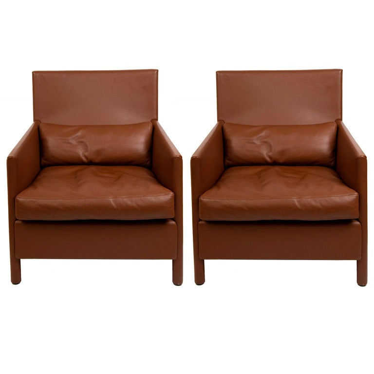 Pair of Vintage Contemporary Full Grain Leather Lounge Chairs For Sale