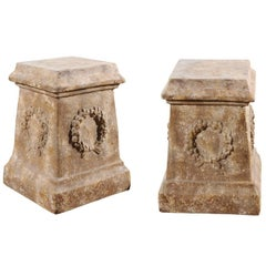 Pair of Vintage Continental Faux Stone Garden Plinths with Wreath Motifs, 1960s