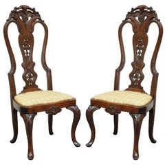 Pair of Vintage Continental Style Reptile Scale Carved Mahogany Side Chairs