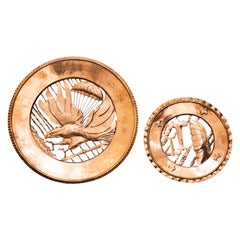 Pair of Vintage Copper Decorative Plates, Italy, 1930s