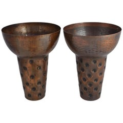 Pair of Vintage Copper Vases by Eugen Zint, Germany, 1950s