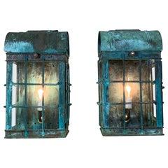 Pair of Vintage Copper Wall Lantern