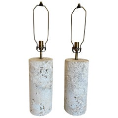 Pair of Vintage Coquina Stone / Key Stone Base Cylindrical Table Lamps