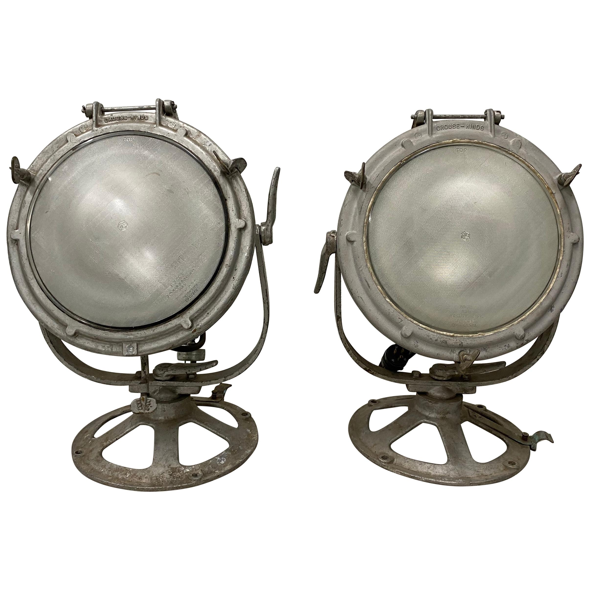 Pair of Vintage Crouse-Hinds Nautical Searchlights, circa 1930