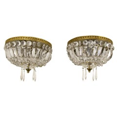 Pair of Vintage Crystal and Brass Three-Light Ceiling Fixtures
