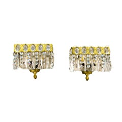 Pair of Italian Vintage Crystal Glass and Brass Sconces