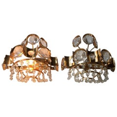 Pair of Vintage Danish Gilded Sconces with Crystal Prisms from M.P.R, 1970s