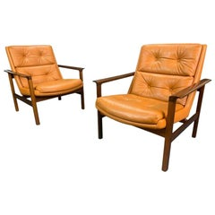 Pair of Vintage Danish Midcentury Lounge Chairs Model #75 in Rosewood & Leather