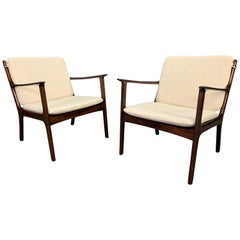 "Pair of Vintage Danish Midcentury Mahogany Lounge Chair ""Pj112"" by Ole Wanscher"