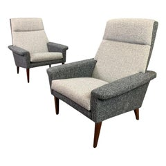 Pair of Vintage Danish Mid-Century Modern Lounge Chairs Model #75 in Rosewood