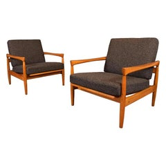 "Pair of Vintage Danish Mid Century Oak ""Kolding"" Lounge Chairs by Erik Wortz"