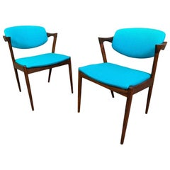 Pair of Vintage Danish Midcentury Rosewood Chairs Model #42 by Kai Kristiansen