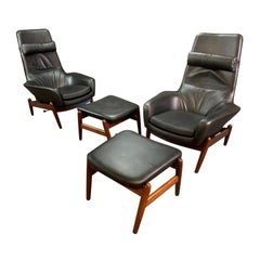 Pair of Vintage Danish Midcentury Lounge Chairs & Ottomans PD30, Ib Kofod Larsen