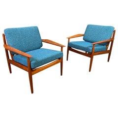 Pair of Vintage Danish Midcentury Teak Easy Chairs by Arne Vodder for Glostrup