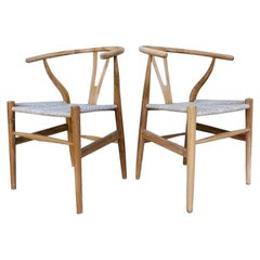 Pair of Vintage Danish Modern Chairs in Natural Teak Wood with Handwoven Seats