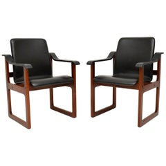 Pair of Vintage Danish Rosewood and Leather Armchairs