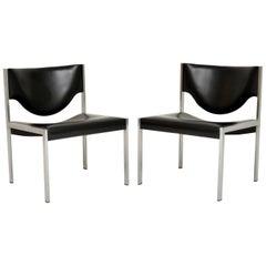 Pair of Vintage Danish Steel Lounge Chairs