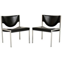 Pair of Vintage Danish Steel Lounge Chairs