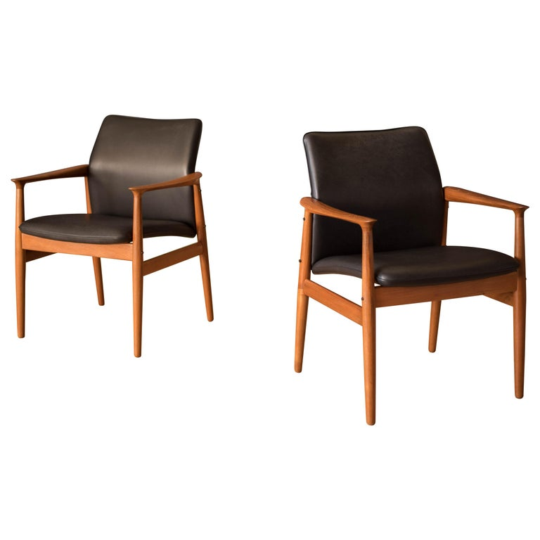 Pair of Vintage Danish Teak and Leather Armchairs by Grete Jalk for Glostrup For Sale