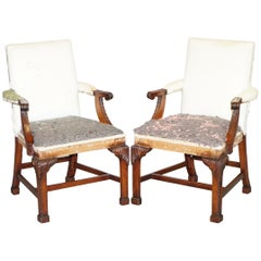 Pair of Vintage Deconstructed Heavily Carved Gainsborough Carver Armchairs