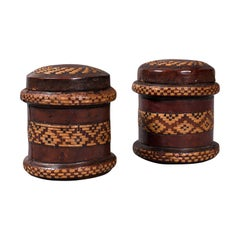 Pair of, Vintage Decorated Tobacco Tins, English, Leather, Canister, Circa 1940
