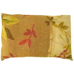 Pair of Vintage Decorative Antique French Aubusson Carpet Pillows