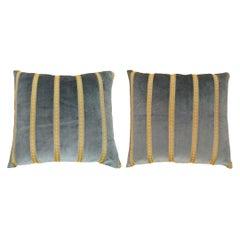 Pair of Vintage Decorative Art Deco Green Velvet Pillow with Gold Stripes