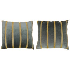 Pair of Decorative Art Deco Style Velvet Pillows in Green with Gold Stripe Bro