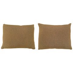 Pair of Vintage Decorative Brown Fabric Pillows, Double-Sided