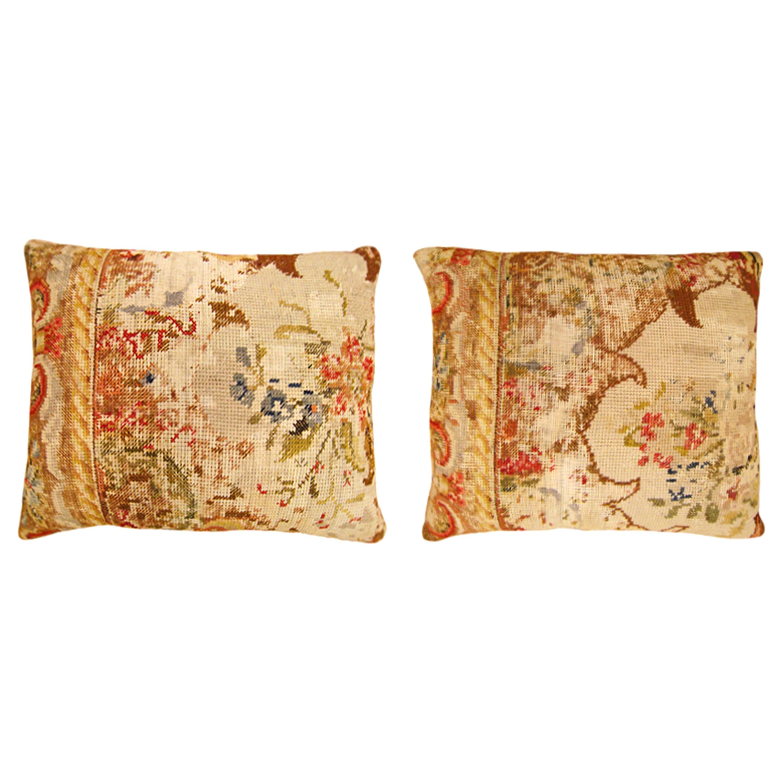 Pair of Vintage Decorative English Needlepoint Pillows, Terracotta Linen Backing