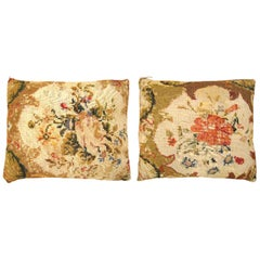 Pair of Vintage Decorative English Needlepoint Pillows