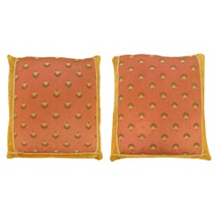 Pair of Decorative European Textile Pillows with Velvet and Striped Fabric