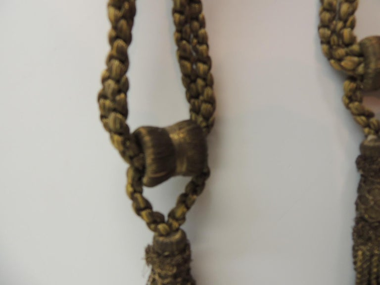 French Pair of Vintage Decorative Gold Tassels with Rope For Sale