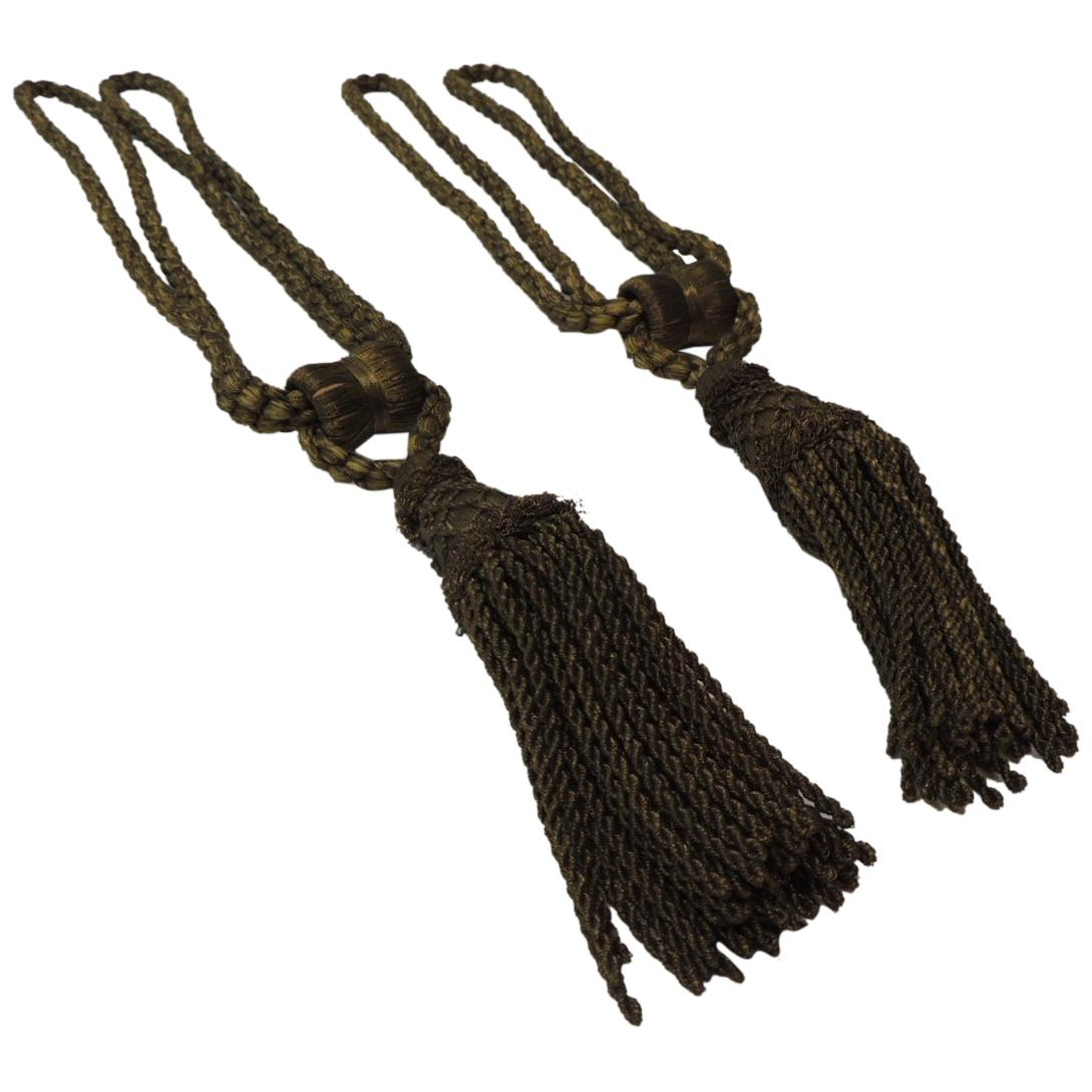Pair of Vintage Decorative Gold Tassels with Rope