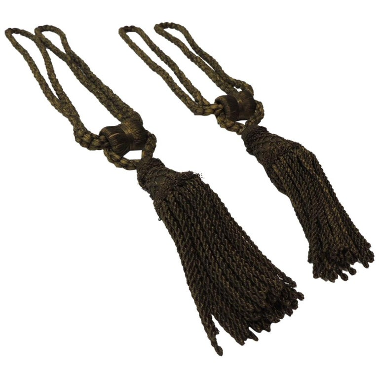 Pair of Vintage Decorative Gold Tassels with Rope For Sale