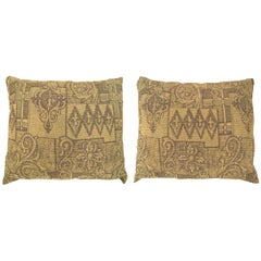 Pair of Vintage Decorative Pillow with Floro-Geometric Design on Both Sides