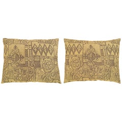 Pair of Vintage Decorative Pillows with Floro-Geometric Design on Both Sides