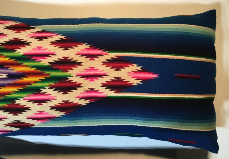 Pair of Vintage Decorative Saltillo Blanket Pillows For Sale 5