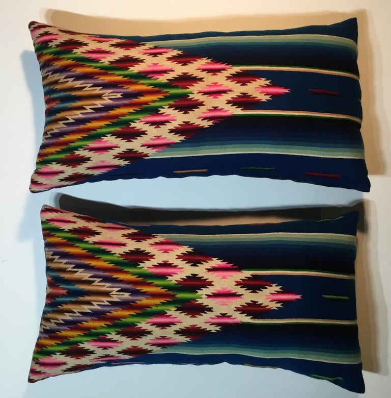 Pair of Vintage Decorative Saltillo Blanket Pillows For Sale 7