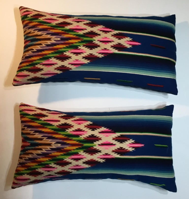 20th Century Pair of Vintage Decorative Saltillo Blanket Pillows For Sale