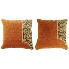 Pair of Vintage Decorative Traditional Oriental Carpet Pillow