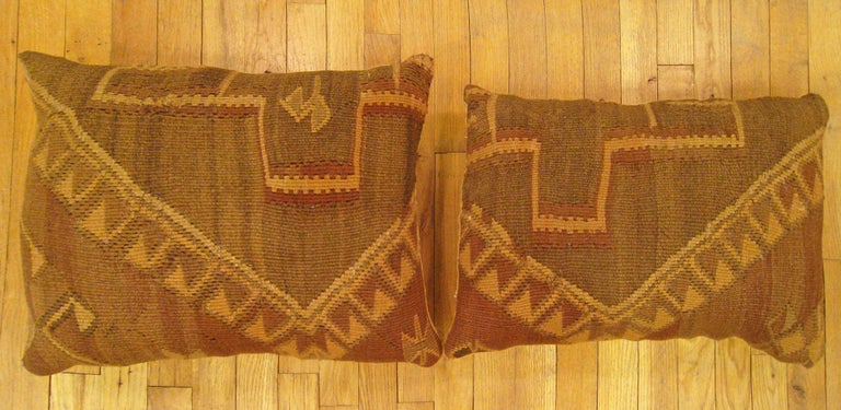 Pair of vintage Turkish Kilim rug pillows, size 24