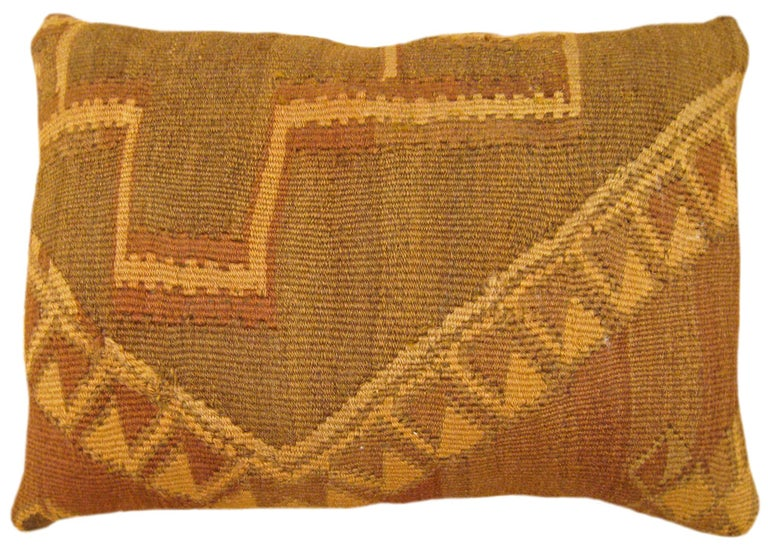 Pair of Vintage Decorative Turkish Kilim Oriental Rug Pillows For Sale 1