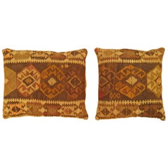 Pair of Vintage Decorative Turkish Kilim Oriental Rug Pillows