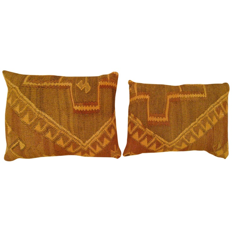 Pair of Vintage Decorative Turkish Kilim Oriental Rug Pillows For Sale