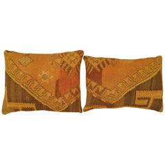 Pair of Vintage Decorative Turkish Kilim Oriental Rug Pillows